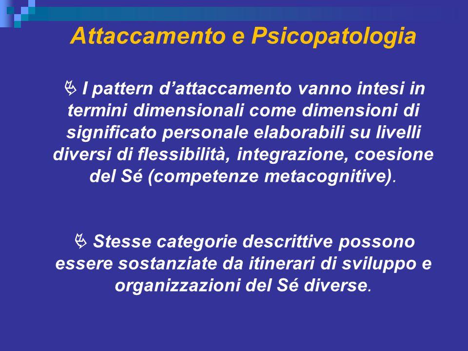 Attaccamento e Psicopatologia  I pattern d'attaccamento vanno intesi in termini dimensionali come dimensioni di significato personale elaborabili su