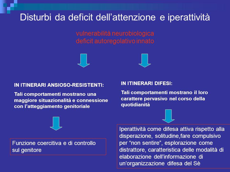 Disturbi da deficit dell'attenzione e iperattività vulnerabilità neurobiologica deficit autoregolativo innato IN ITINERARI ANSIOSO-RESISTENTI: Tali co