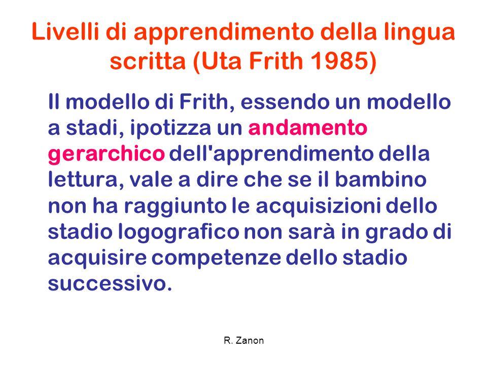 Modello di apprendimento della lingua italiana (Uta Frith 1985) Fase logografica Fase alfabetica Fase ortografica Fase lessicale Legge e scrive parole in modo globale basandosi su indici visivi.