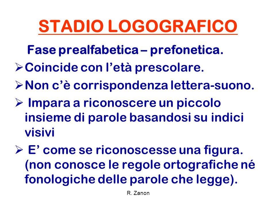 STADIO LOGOGRAFICO Fase prealfabetica – prefonetica.  Coincide con l'età prescolare.  Non c'è corrispondenza lettera-suono.  Impara a riconoscere u