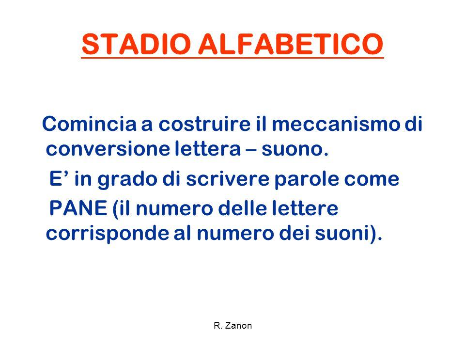 STADIO ALFABETICO Comincia a costruire il meccanismo di conversione lettera – suono. E' in grado di scrivere parole come PANE (il numero delle lettere