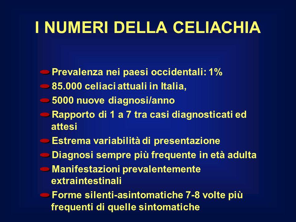 I NUMERI DELLA CELIACHIA Prevalenza nei paesi occidentali: 1% 85.000 celiaci attuali in Italia, 5000 nuove diagnosi/anno Rapporto di 1 a 7 tra casi di