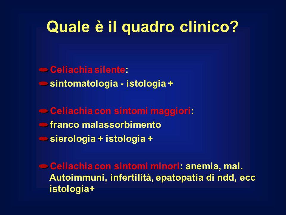 Quale è il quadro clinico? Celiachia silente: sintomatologia - istologia + Celiachia con sintomi maggiori: franco malassorbimento sierologia + istolog
