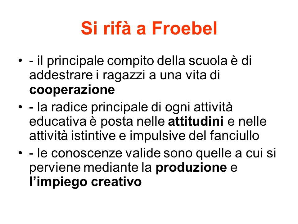 Si rifà a Froebel - il principale compito della scuola è di addestrare i ragazzi a una vita di cooperazione - la radice principale di ogni attività ed