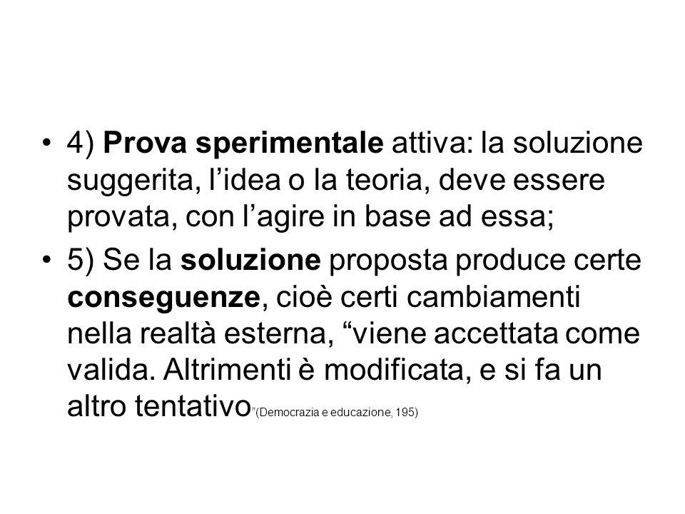 4) Prova sperimentale attiva: la soluzione suggerita, l'idea o la teoria, deve essere provata, con l'agire in base ad essa; 5) Se la soluzione propost