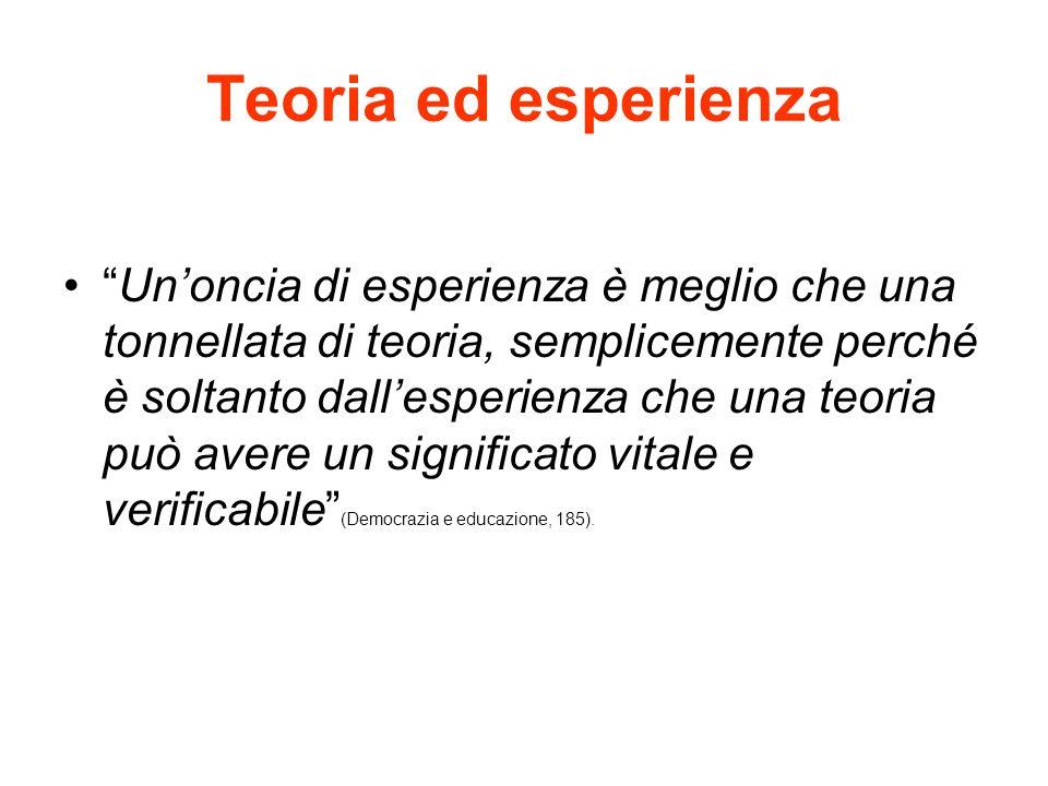 """Teoria ed esperienza """"Un'oncia di esperienza è meglio che una tonnellata di teoria, semplicemente perché è soltanto dall'esperienza che una teoria può"""