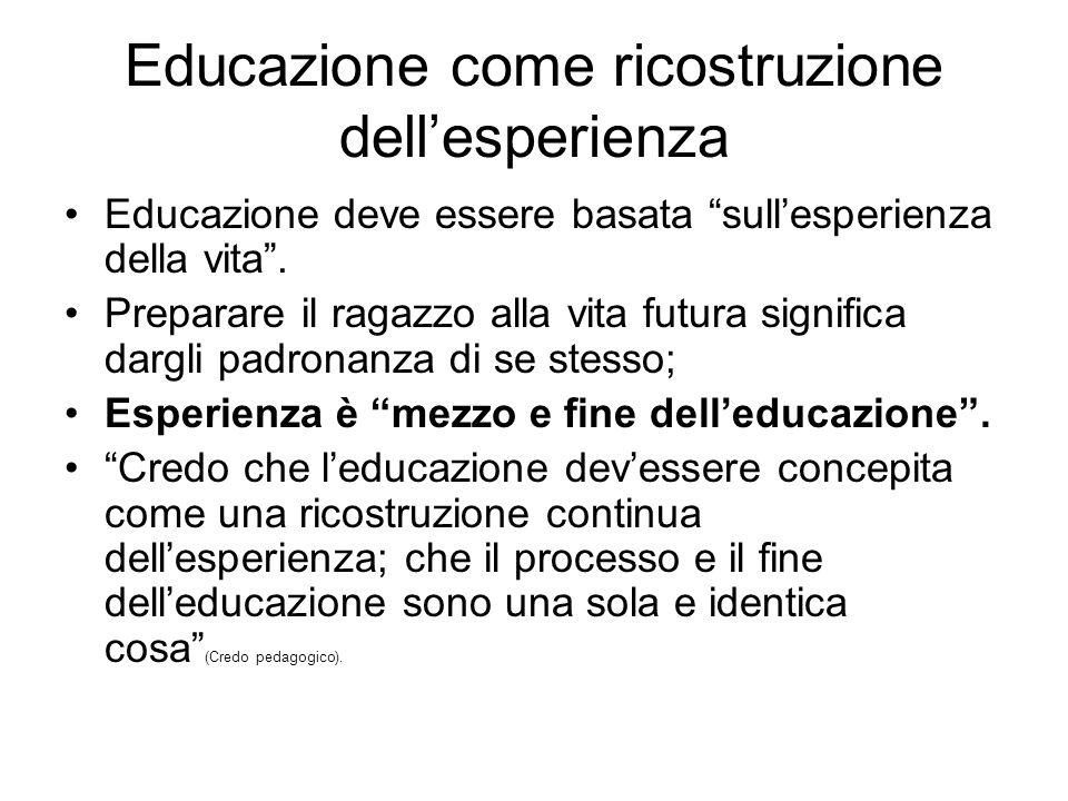 """Educazione come ricostruzione dell'esperienza Educazione deve essere basata """"sull'esperienza della vita"""". Preparare il ragazzo alla vita futura signif"""
