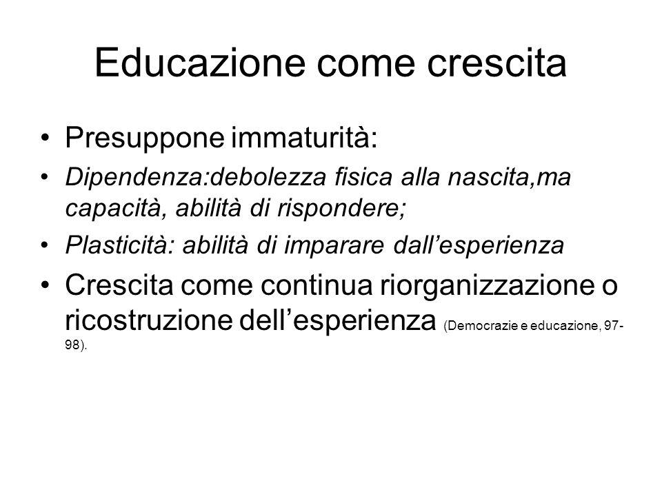 Educazione come crescita Presuppone immaturità: Dipendenza:debolezza fisica alla nascita,ma capacità, abilità di rispondere; Plasticità: abilità di im