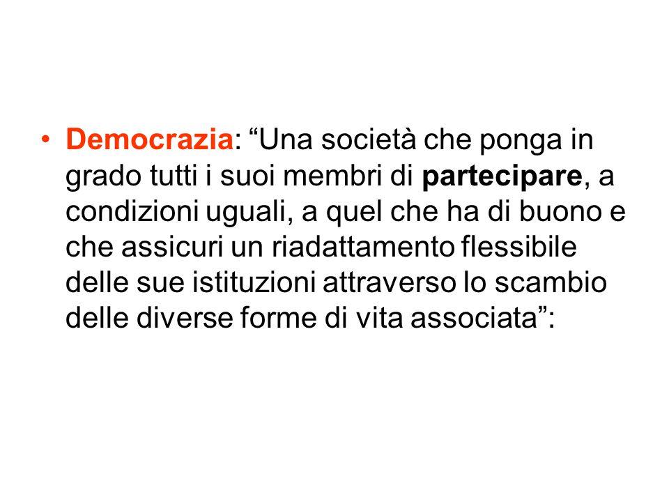 """Democrazia: """"Una società che ponga in grado tutti i suoi membri di partecipare, a condizioni uguali, a quel che ha di buono e che assicuri un riadatta"""