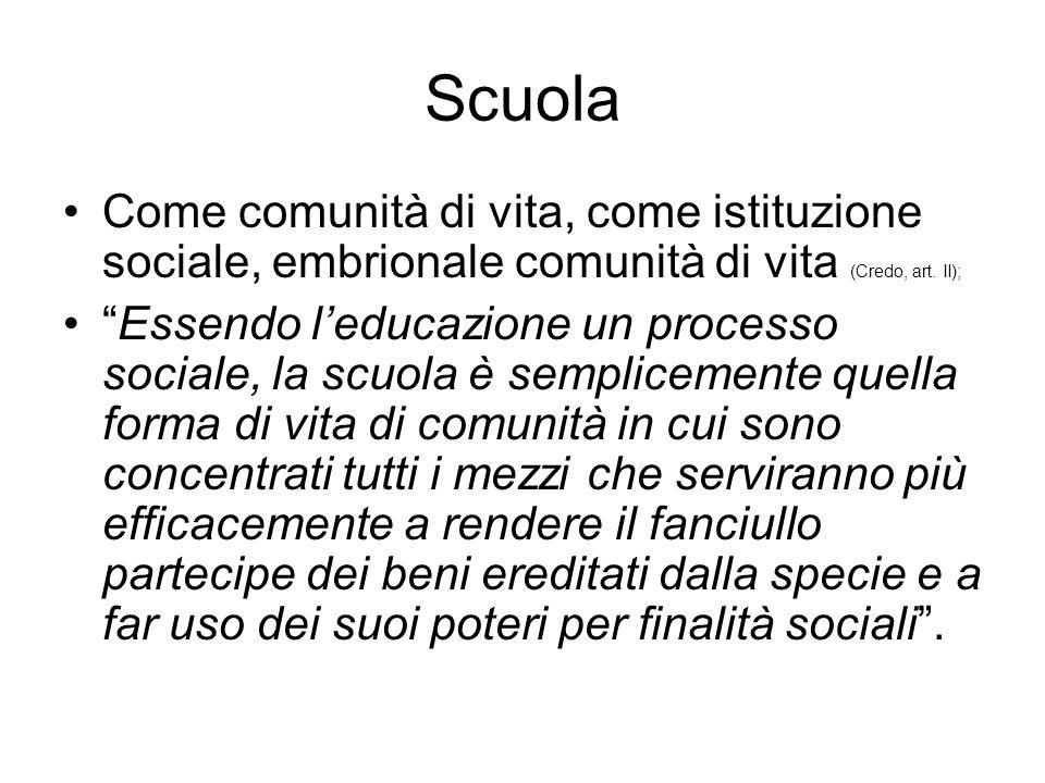 """Scuola Come comunità di vita, come istituzione sociale, embrionale comunità di vita (Credo, art. II); """"Essendo l'educazione un processo sociale, la sc"""