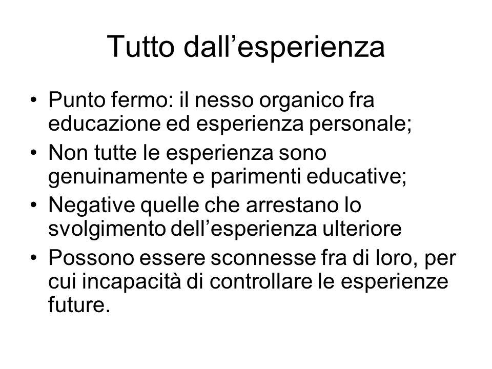 Tutto dall'esperienza Punto fermo: il nesso organico fra educazione ed esperienza personale; Non tutte le esperienza sono genuinamente e parimenti edu