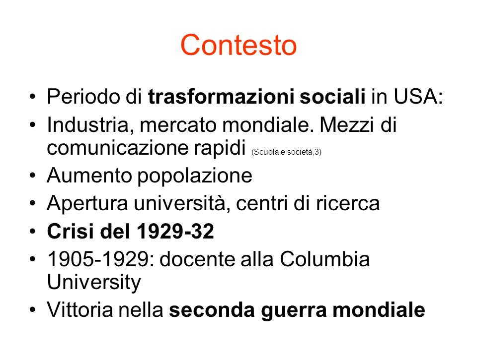 Contesto Periodo di trasformazioni sociali in USA: Industria, mercato mondiale. Mezzi di comunicazione rapidi (Scuola e società,3) Aumento popolazione