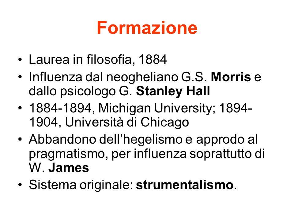Formazione Laurea in filosofia, 1884 Influenza dal neogheliano G.S. Morris e dallo psicologo G. Stanley Hall 1884-1894, Michigan University; 1894- 190