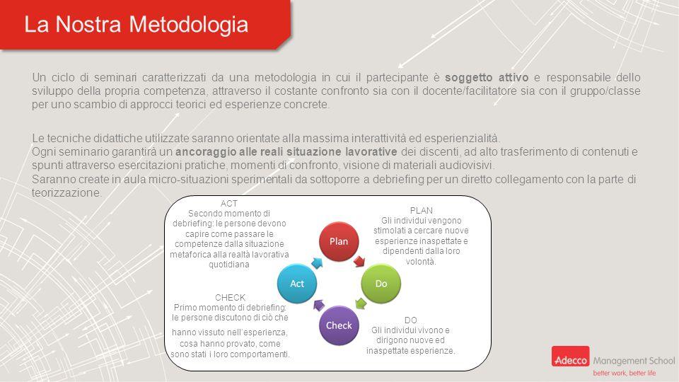 La Nostra Metodologia Un ciclo di seminari caratterizzati da una metodologia in cui il partecipante è soggetto attivo e responsabile dello sviluppo de