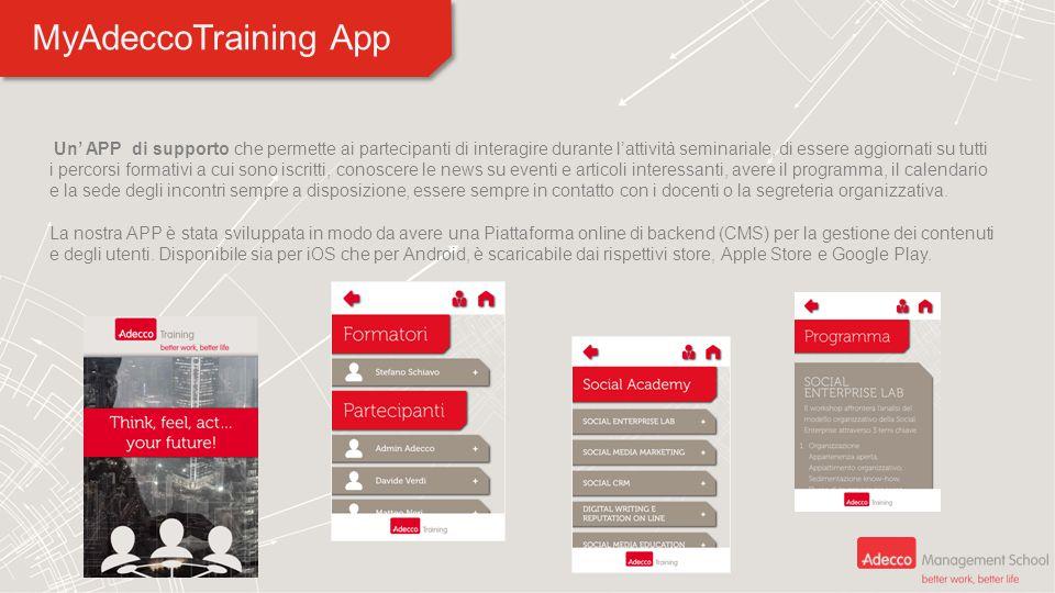 MyAdeccoTraining App Un' APP di supporto che permette ai partecipanti di interagire durante l'attività seminariale, di essere aggiornati su tutti i pe