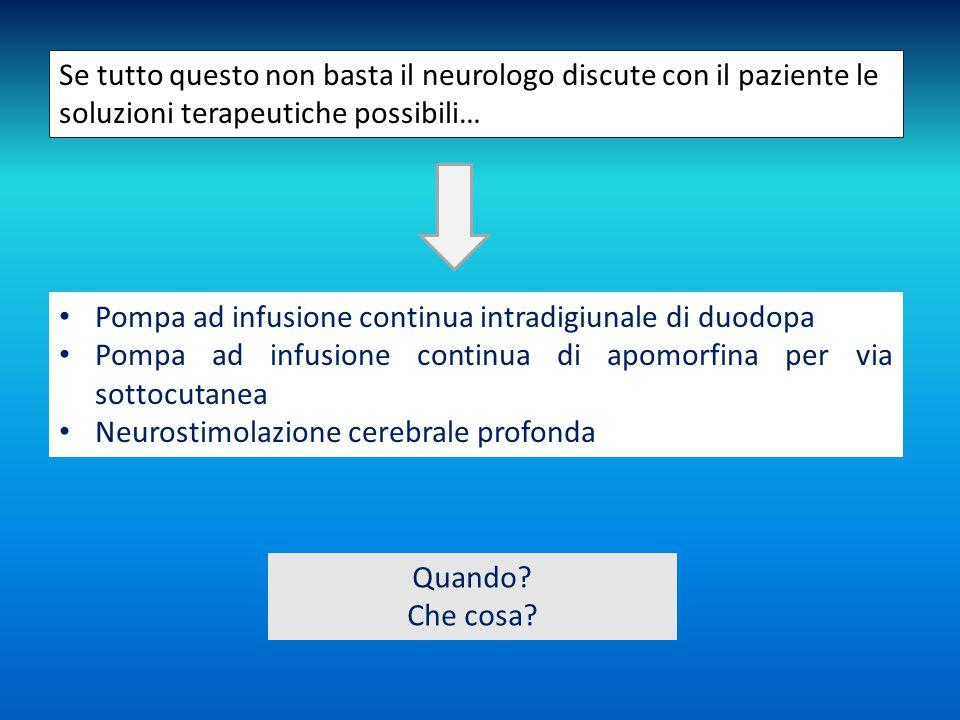 Se tutto questo non basta il neurologo discute con il paziente le soluzioni terapeutiche possibili… Pompa ad infusione continua intradigiunale di duod