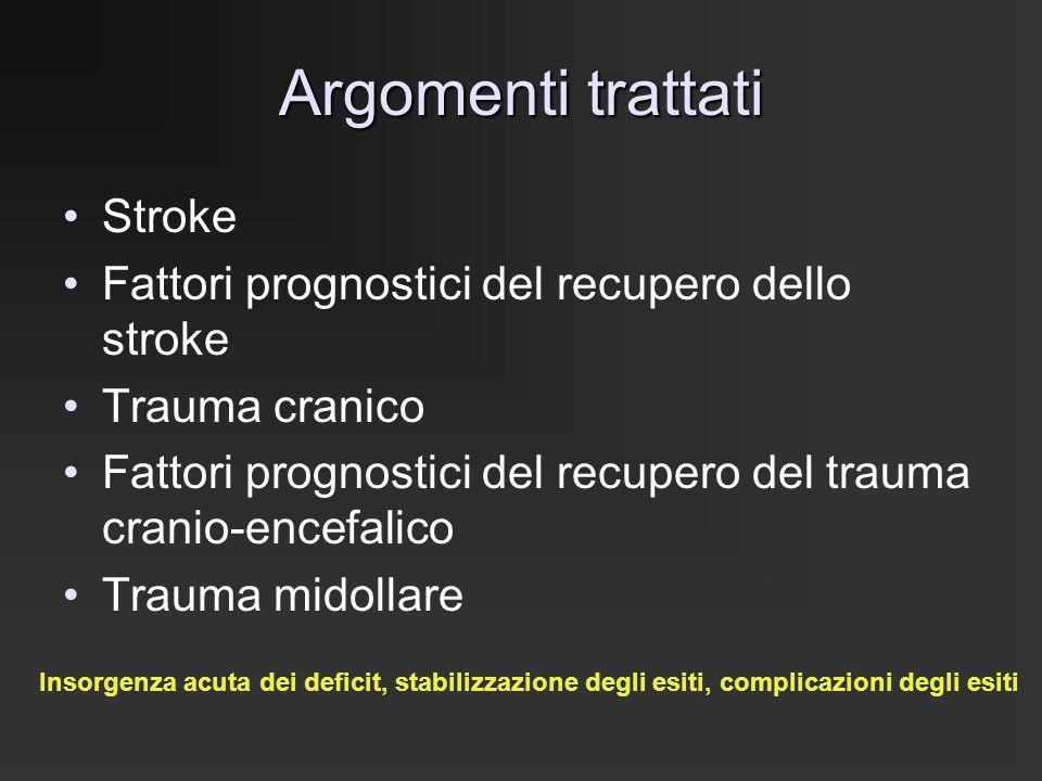 Argomenti trattati Stroke Fattori prognostici del recupero dello stroke Trauma cranico Fattori prognostici del recupero del trauma cranio-encefalico T