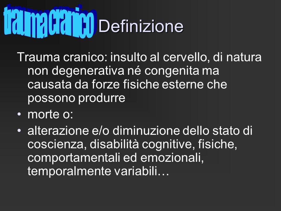 Definizione Trauma cranico: insulto al cervello, di natura non degenerativa né congenita ma causata da forze fisiche esterne che possono produrre mort