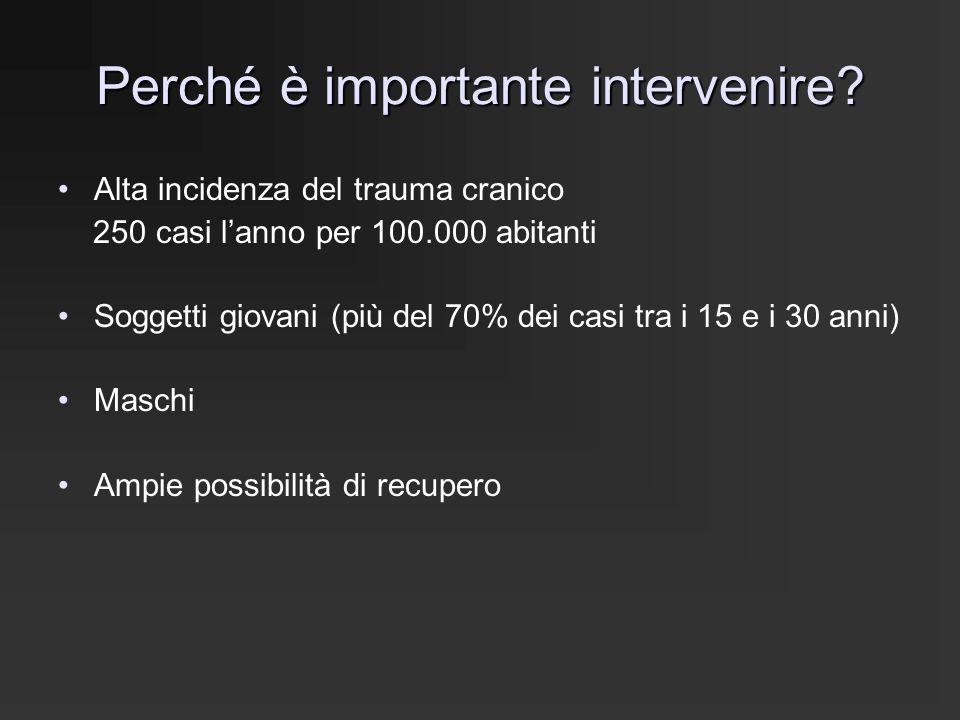 Perché è importante intervenire? Alta incidenza del trauma cranico 250 casi l'anno per 100.000 abitanti Soggetti giovani (più del 70% dei casi tra i 1