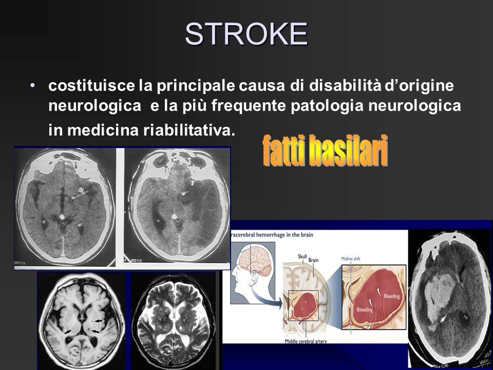 STROKE costituisce la principale causa di disabilità d'origine neurologica e la più frequente patologia neurologica in medicina riabilitativa.