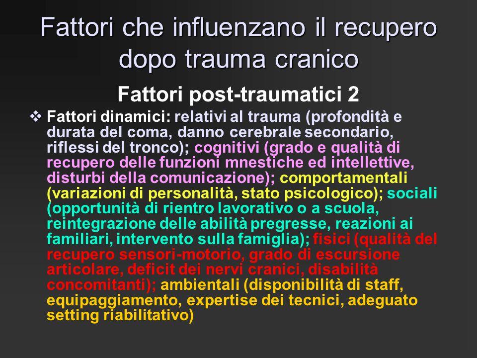 Fattori che influenzano il recupero dopo trauma cranico Fattori post-traumatici 2  Fattori dinamici: relativi al trauma (profondità e durata del coma