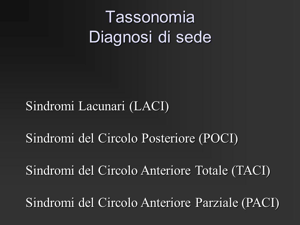 DIAGNOSI DI SEDE SECONDO I CRITERI DELLA OXFORDSHIRE COMMUNITY STROKE PROJECT Categorie: Sindromi Lacunari (LACI) Ictus motorio puro Ictus sensitivo puro Ictus sensitivo-motorio Emiparesi atassica