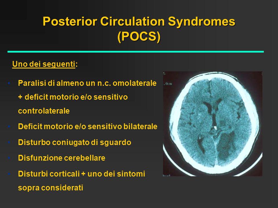 Total Anterior Circulation Sindromes (TACS) Emiplegia controlaterale Emianopsia controlaterale Disturbo di una funzione corticale (afasia, disturbo visuospaziale) Tutti i seguenti: