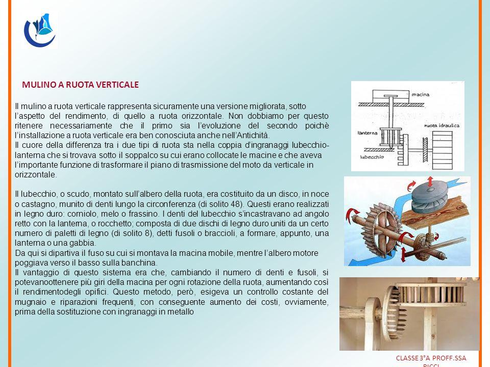 MULINO A RUOTA VERTICALE Il mulino a ruota verticale rappresenta sicuramente una versione migliorata, sotto l'aspetto del rendimento, di quello a ruot