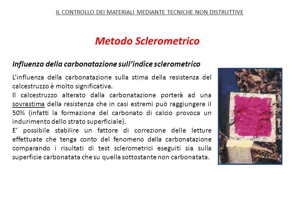 Metodo Sclerometrico L'influenza della carbonatazione sulla stima della resistenza del calcestruzzo è molto significativa. Il calcestruzzo alterato da