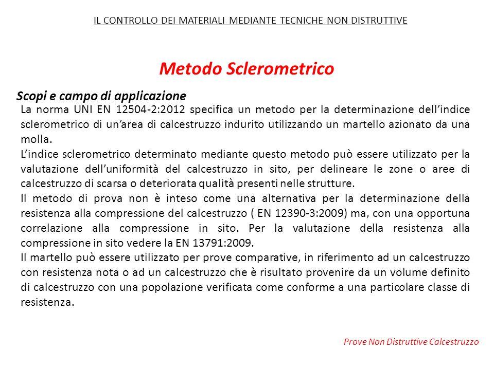 Scopi e campo di applicazione La norma UNI EN 12504-2:2012 specifica un metodo per la determinazione dell'indice sclerometrico di un'area di calcestru