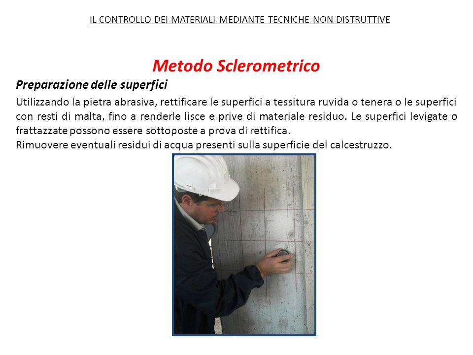 Metodo Sclerometrico Preparazione delle superfici Utilizzando la pietra abrasiva, rettificare le superfici a tessitura ruvida o tenera o le superfici