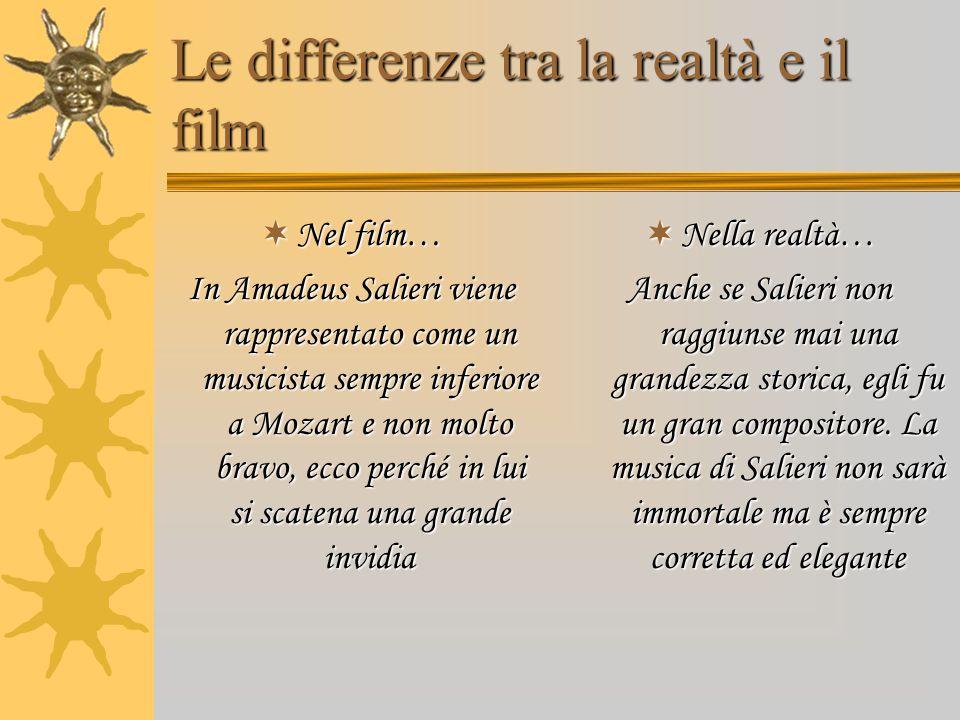 Le differenze tra la realtà e il film  Nel film… In Amadeus Salieri viene rappresentato come un musicista sempre inferiore a Mozart e non molto bravo