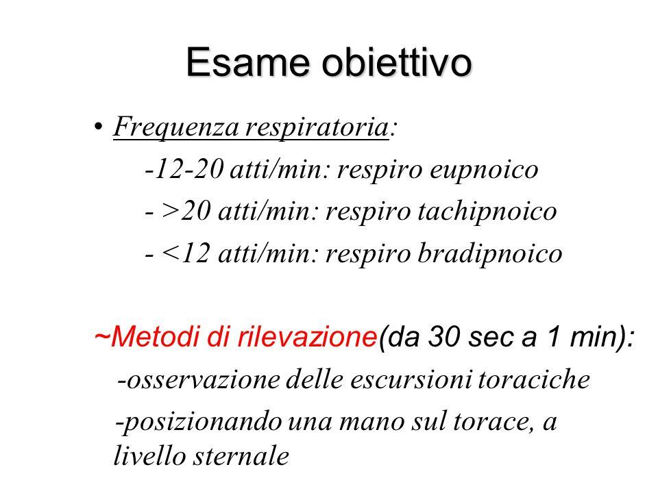 Esame obiettivo Frequenza respiratoria: -12-20 atti/min: respiro eupnoico - >20 atti/min: respiro tachipnoico - <12 atti/min: respiro bradipnoico ~Met