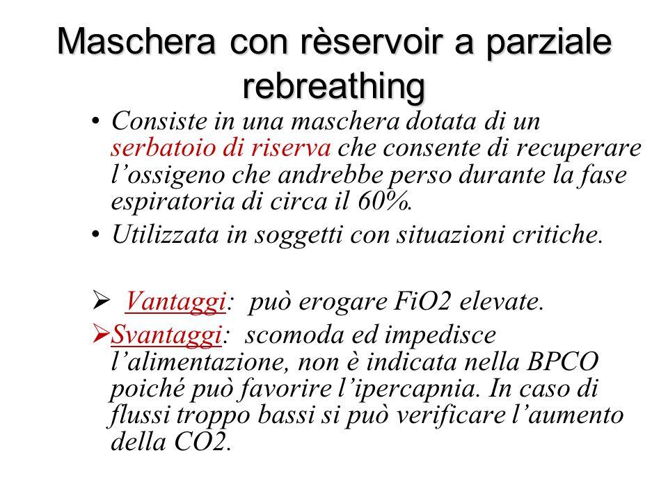 Maschera con rèservoir a parziale rebreathing Consiste in una maschera dotata di un serbatoio di riserva che consente di recuperare l'ossigeno che and