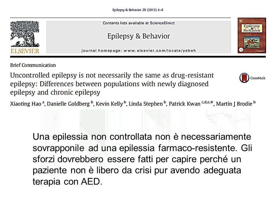 Una epilessia non controllata non è necessariamente sovrapponile ad una epilessia farmaco-resistente. Gli sforzi dovrebbero essere fatti per capire pe