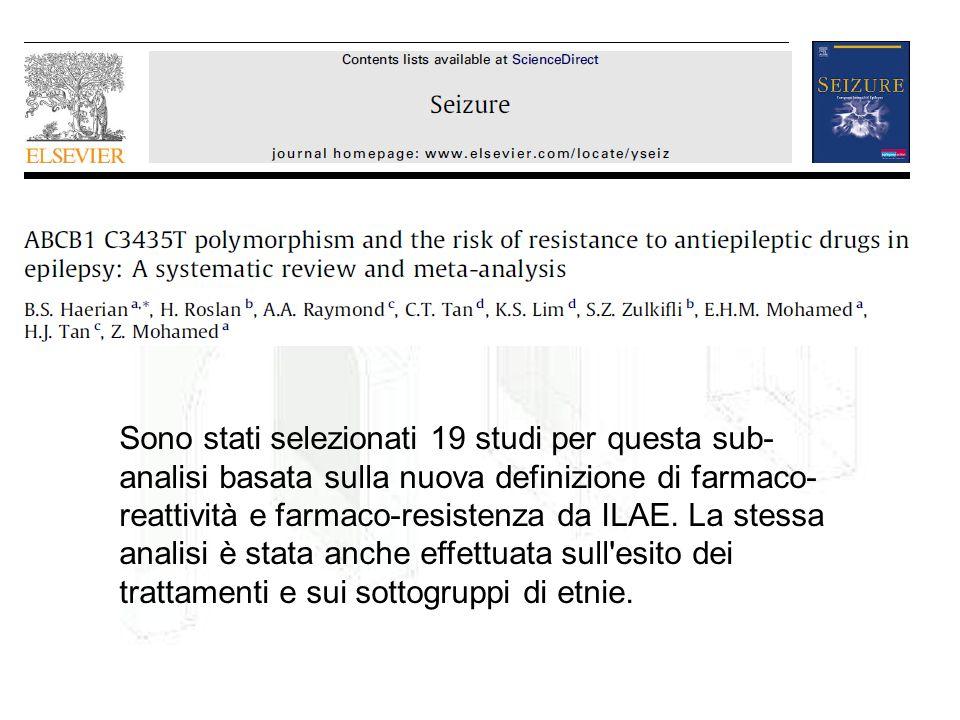 Sono stati selezionati 19 studi per questa sub- analisi basata sulla nuova definizione di farmaco- reattività e farmaco-resistenza da ILAE. La stessa