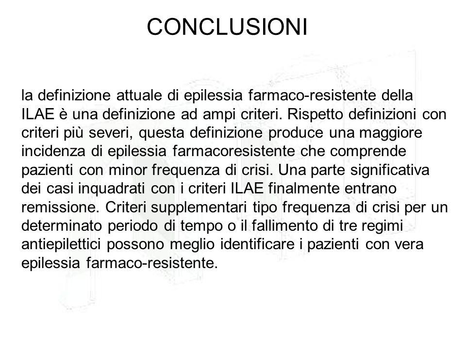 la definizione attuale di epilessia farmaco-resistente della ILAE è una definizione ad ampi criteri. Rispetto definizioni con criteri più severi, ques
