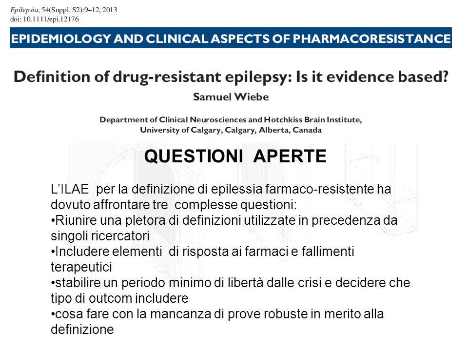 QUESTIONI APERTE L'ILAE per la definizione di epilessia farmaco-resistente ha dovuto affrontare tre complesse questioni: Riunire una pletora di defini