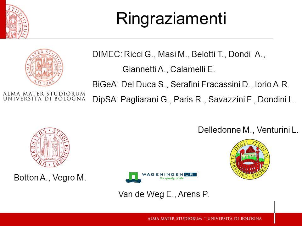 Ringraziamenti DIMEC: Ricci G., Masi M., Belotti T., Dondi A., Giannetti A., Calamelli E.