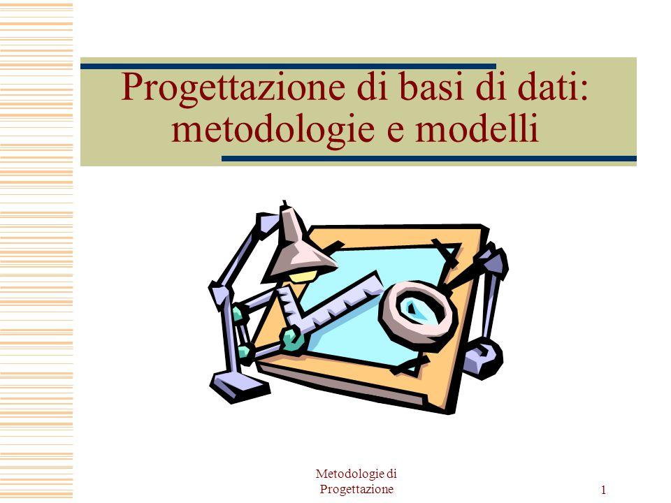 Metodologie di Progettazione 1 Progettazione di basi di dati: metodologie e modelli