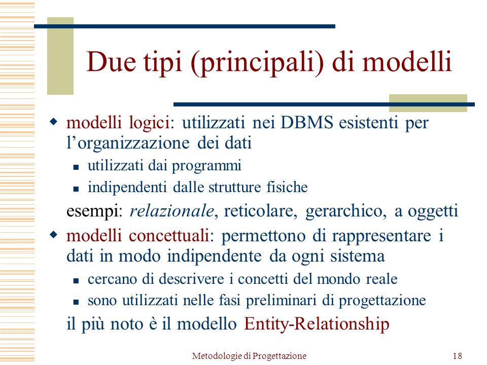 Metodologie di Progettazione18 Due tipi (principali) di modelli  modelli logici: utilizzati nei DBMS esistenti per l'organizzazione dei dati utilizzati dai programmi indipendenti dalle strutture fisiche esempi: relazionale, reticolare, gerarchico, a oggetti  modelli concettuali: permettono di rappresentare i dati in modo indipendente da ogni sistema cercano di descrivere i concetti del mondo reale sono utilizzati nelle fasi preliminari di progettazione il più noto è il modello Entity-Relationship