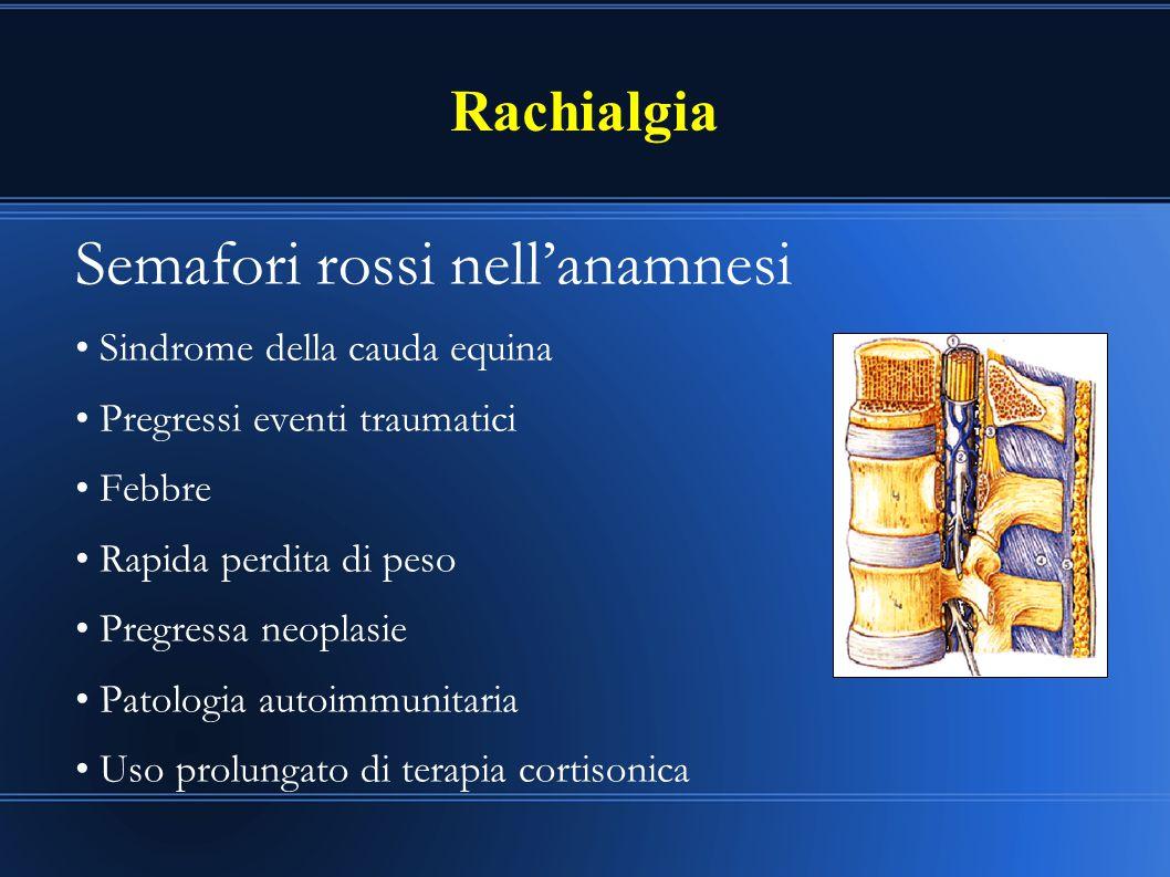Rachialgia Semafori rossi nell'anamnesi Sindrome della cauda equina Pregressi eventi traumatici Febbre Rapida perdita di peso Pregressa neoplasie Pato