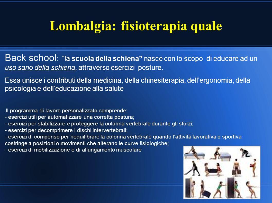 """Lombalgia: fisioterapia quale Back school : """"la scuola della schiena"""" nasce con lo scopo di educare ad un uso sano della schiena, attraverso esercizi"""