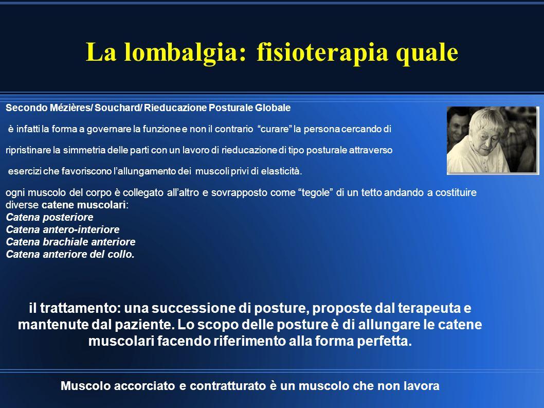 La lombalgia: fisioterapia quale Secondo Mézières/ Souchard/ Rieducazione Posturale Globale è infatti la forma a governare la funzione e non il contra