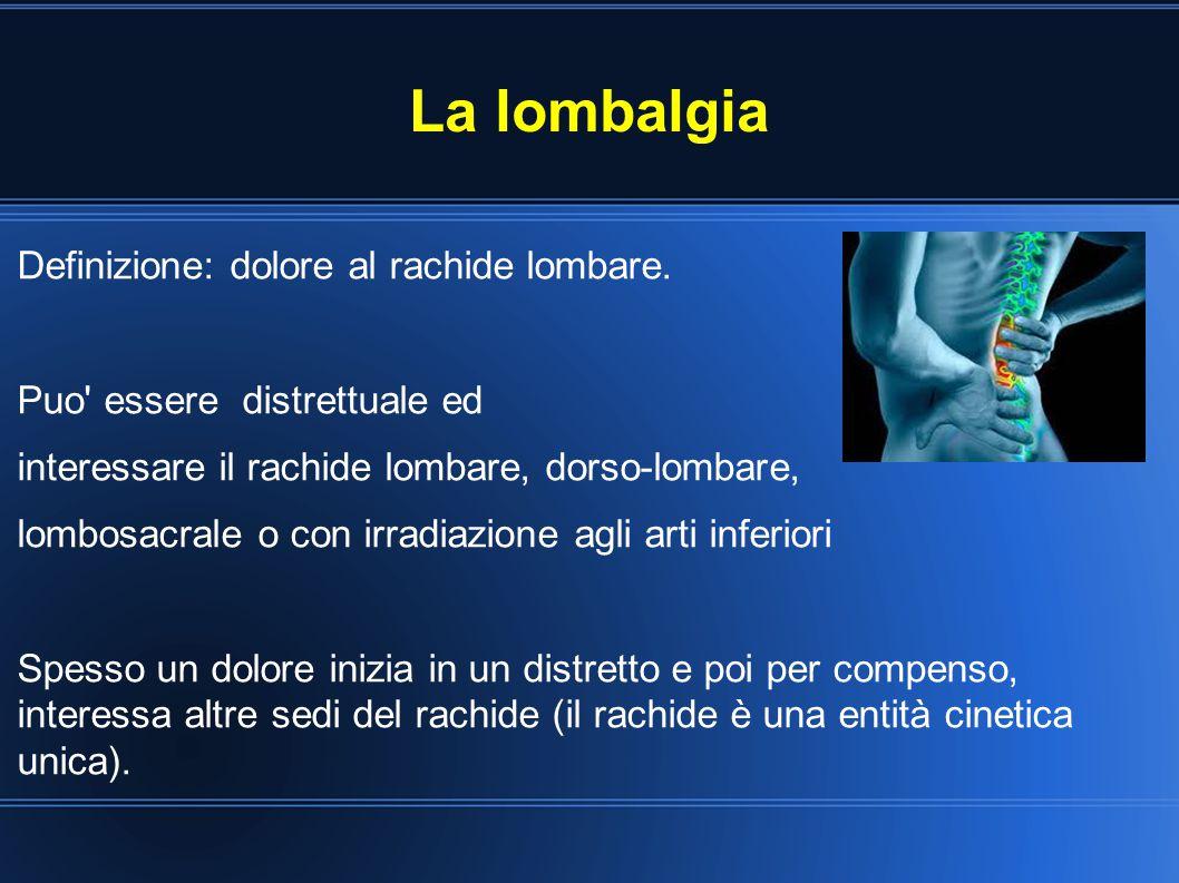 La lombalgia Definizione: dolore al rachide lombare. Puo' essere distrettuale ed interessare il rachide lombare, dorso-lombare, lombosacrale o con irr
