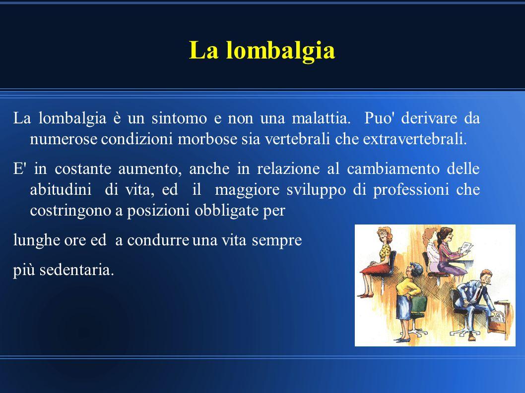 La lombalgia La lombalgia è un sintomo e non una malattia. Puo' derivare da numerose condizioni morbose sia vertebrali che extravertebrali. E' in cost