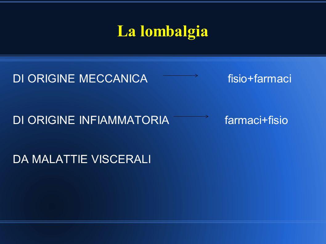 LOMBALGIA DI ORIGINE MECCANICA Lombalgia comune su base muscolare Ernia del disco Spondiloartrosi Fratture vertebrali Instabilità vertebrale Spondilolistesi Stenosi del canale vertebrale Sindrome del piriforme Sindrome delle faccette articolari
