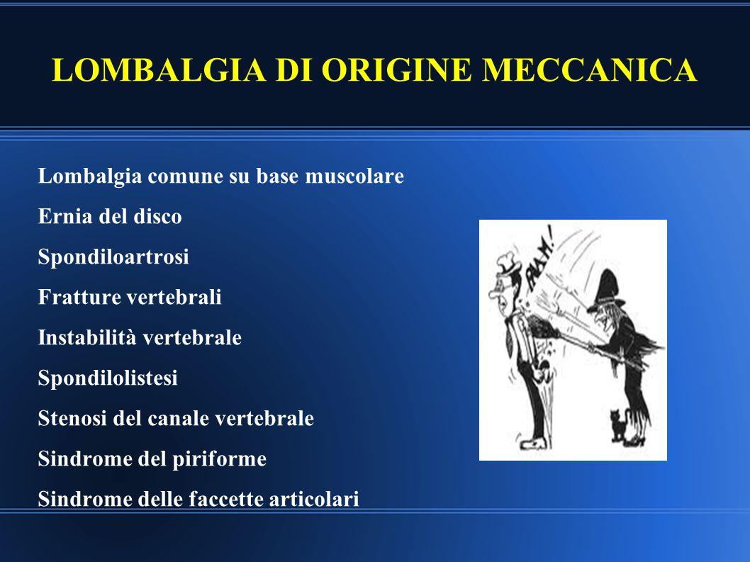 LOMBALGIA DI ORIGINE MECCANICA Lombalgia comune su base muscolare Ernia del disco Spondiloartrosi Fratture vertebrali Instabilità vertebrale Spondilol