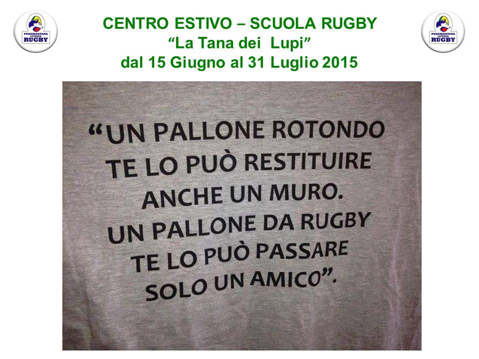 CENTRO ESTIVO – SCUOLA RUGBY La Tana dei Lupi dal 15 Giugno al 31 Luglio 2015 Il progetto vuole introdurre i bambini alla cultura ed ai valori del Rugby: Lavoro di Squadra, Rispetto, Divertimento, Disciplina e Spirito Sportivo.