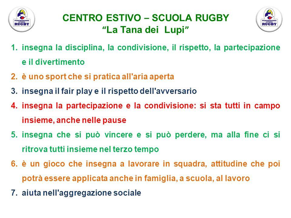1. insegna la disciplina, la condivisione, il rispetto, la partecipazione e il divertimento 2. è uno sport che si pratica all'aria aperta 3. insegna i